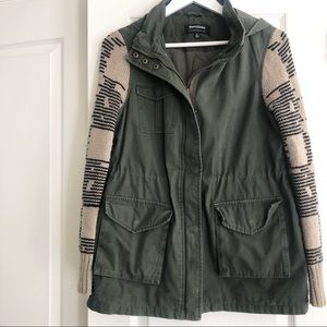 Green Army Utility Jacket with Hood & Knit Sleeves